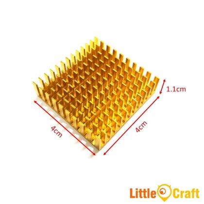 Heatsink 40x40x11 mm Aluminium Clear Black Gold Anodized