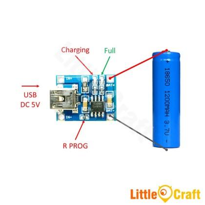 TP4056 Single Cell 1A Li-ION Battery Charger Module - Mini USB