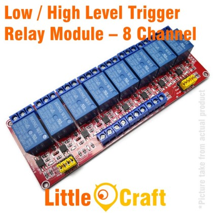 8 Channel Isolated 5V Relay Module With Low / High Level Trigger Option