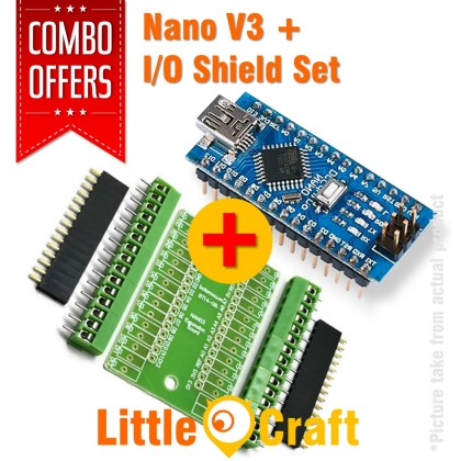 Arduino Nano V3 + Expansion I/O Shield Combo