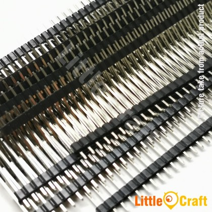 20mm Long Straight Pin Header Single Row 40 ways (Male) - 2.54mm Pitch