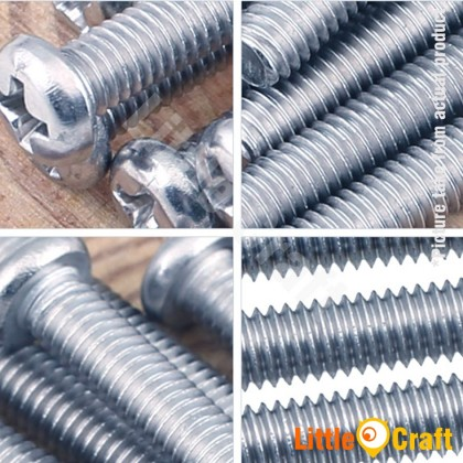 Pan Head Machine Metric Screw M4 Zinc Plating (10pcs)
