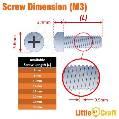 Pan Head Machine Metric Screw M3 Zinc Plating (10pcs)