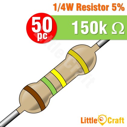 50pcs Resistor 0.25W 5% 1.5 - 1.5M Ohm