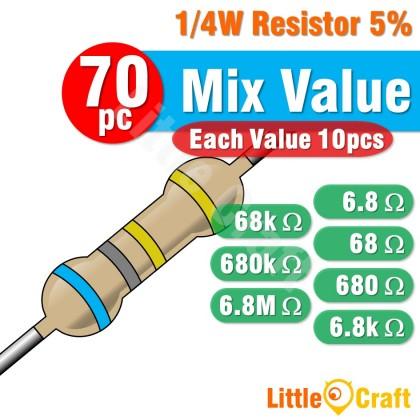 50pcs Resistor 0.25W 5% 6.8 - 6.8M Ohm