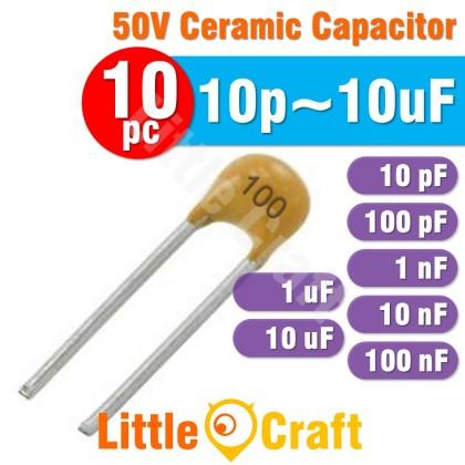 10pcs Ceramic Capacitor 50V 10pF 100pF 1nF 10nF 100nF 1uF 10uF