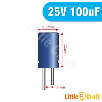 5pcs  Electrolytic Capacitor 25V 100uF