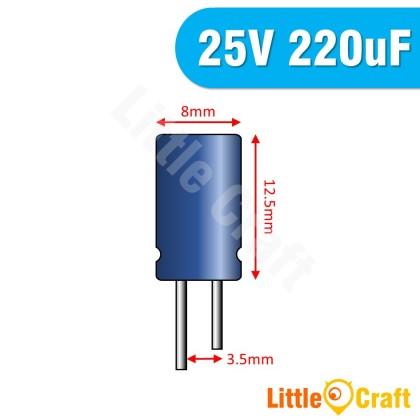 5pcs  Electrolytic Capacitor 25V 220uF