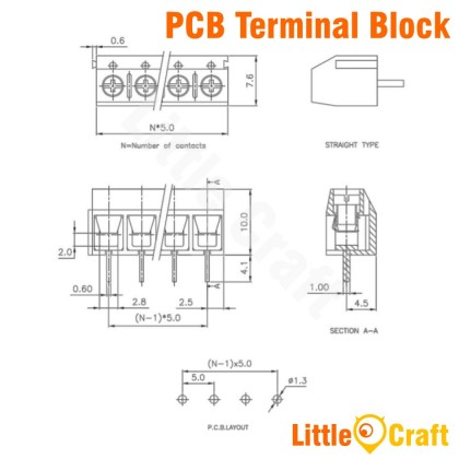 KF302 PCB Terminal Block - 300V 10A 2P 3P