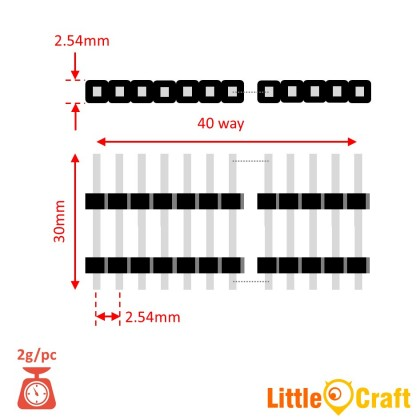 30mm Long Double Stopper Straight Pin Header Single Row 40 ways (Male) - 2.54mm Pitch