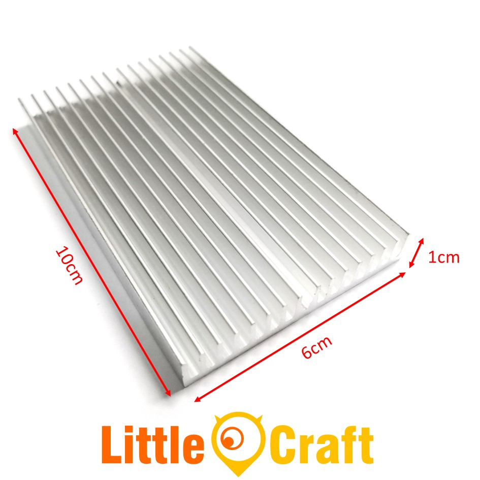 Heatsink 100x60x10 mm Aluminium Clear Anodized