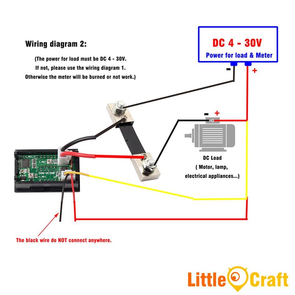 Panel Mount Digital Volt & Amp Meter - (0-100VDC & 0-50A) With Current Shunt