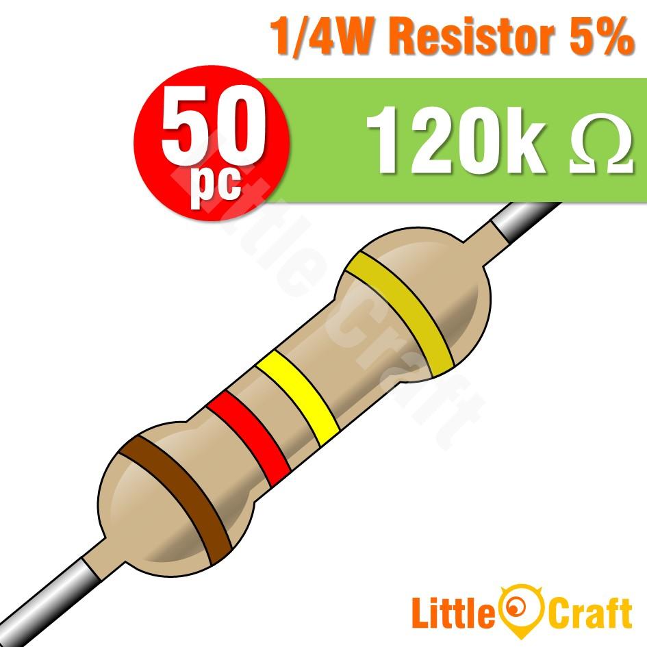 50pcs Resistor 0.25W 5% 1.2 - 1.2M Ohm