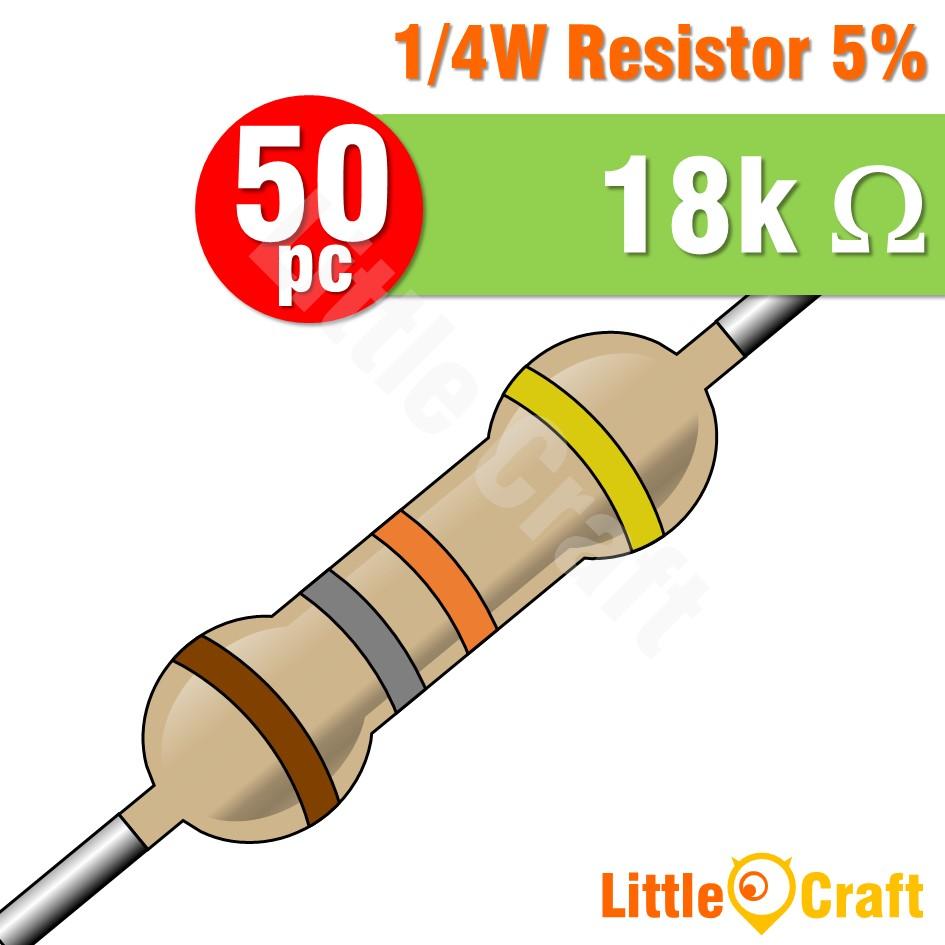 50pcs Resistor 0.25W 5% 1.8 - 1.8M Ohm