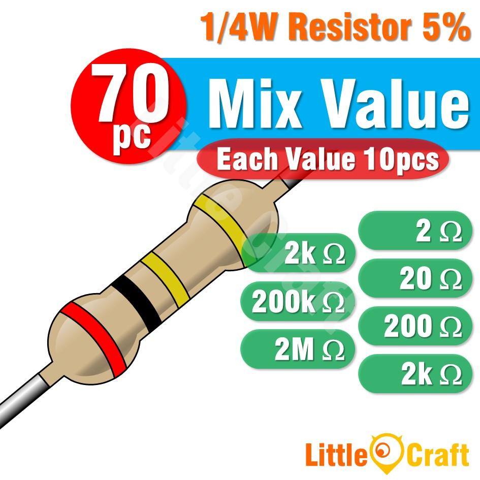 50pcs Resistor 0.25W 5% 2 - 2M Ohm