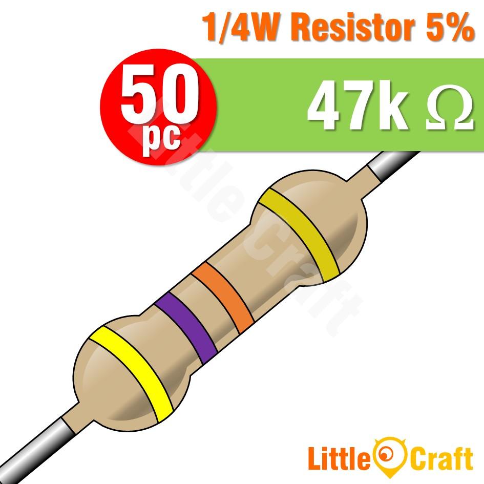 50pcs Resistor 0.25W 5% 4.7 - 4.7M Ohm