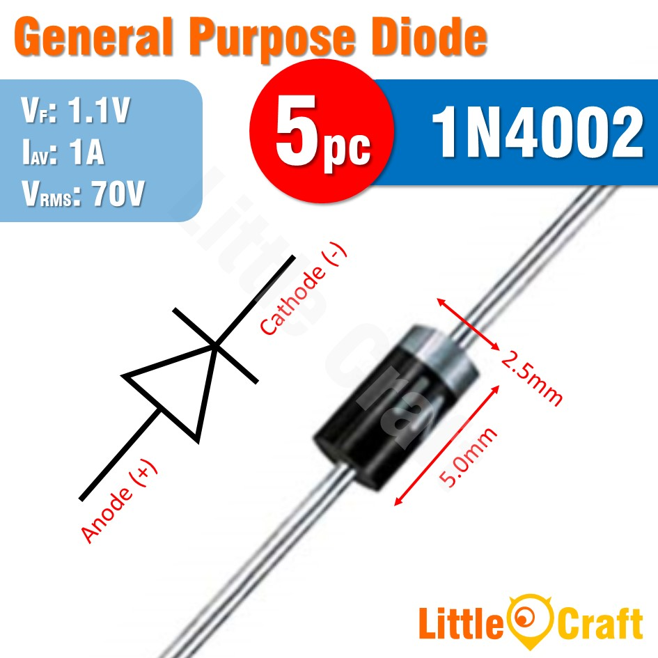 5pcs 1N4002 Diode General Purpose