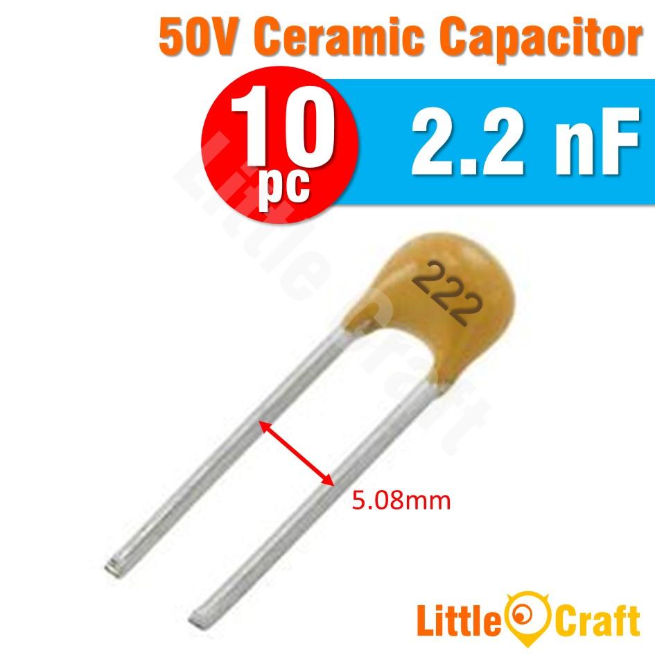 10pcs Ceramic Capacitor 50V 20pF 22pF 200pF 220pF 2.2nF 22nF 220nF 2.2uF