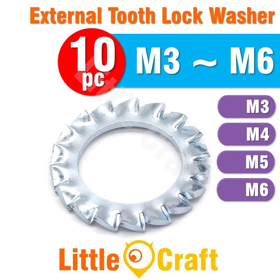 10pcs External Tooth Lock Washer M3 M4 M5 M6